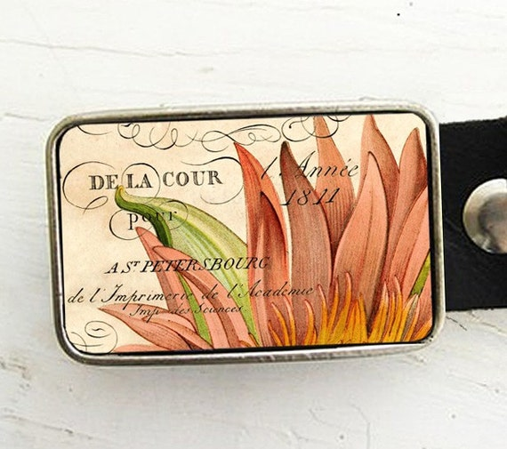 Vintage French Flower Belt Buckle