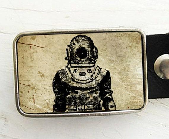 Vintage Diver Belt Buckle- Sepia