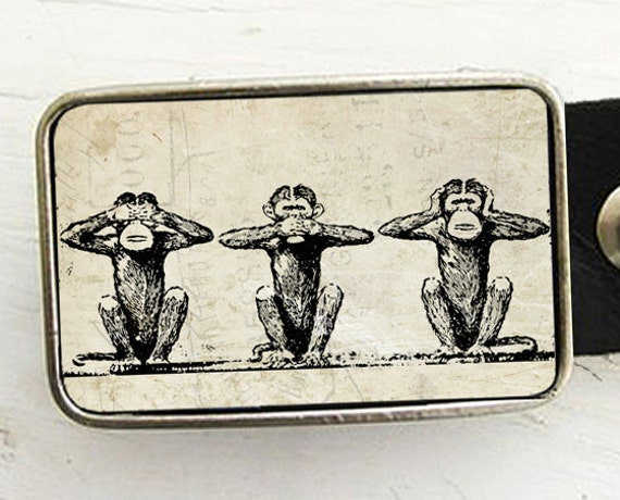 Monkey Belt Buckle, See no Evil, Hear no Evil, Speak no Evil