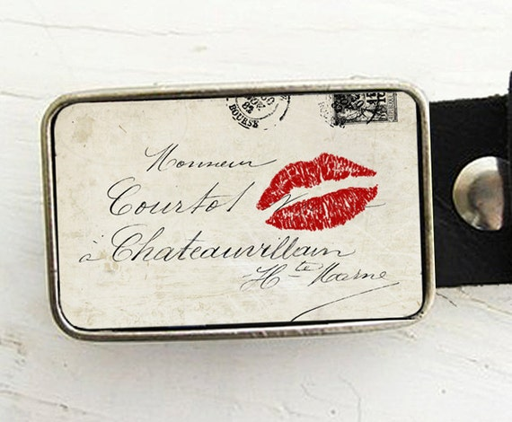 Sealed With a Kiss  Belt Buckle, Valentine's Day