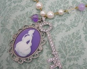 Marie and Louis Crystal Key Violet Cameo Necklace