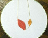Dearest Leaf Necklace (rust\/orange\/gold)