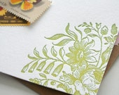 Floral letterpress  flat notes - set of 5