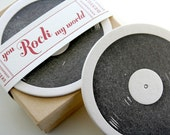 Record Letterpress Coaster - set of 8