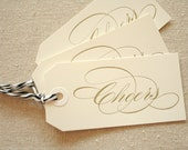 Cheers Letterpress Gift Tags - set of 3