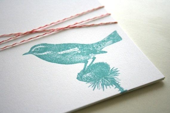 Little Bird Screenprinted flat notes - set of 5