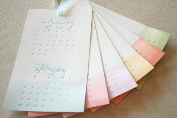 Sale - 2012 Letterpress and Dip-Dyed Calendar