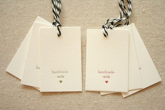Handmade with Love Letterpress Gift Tags - set of 6