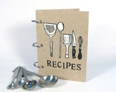 Recipe Book - Utensils cover (4 in x 6 in) - Size No.1, blank journal