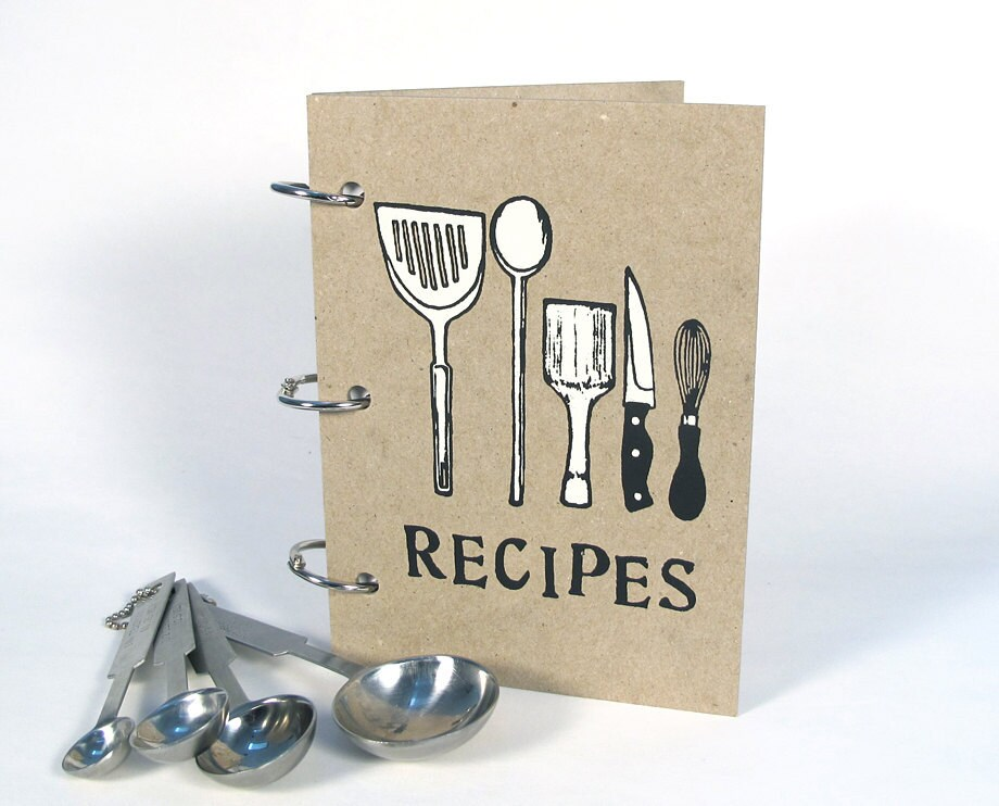Recipe Book Utensils Cover 4 In X 6 Size No1 Blank