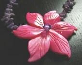 Island Flora Necklace--Fuchsia/Violet
