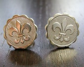Rebirth Mini Medallion Fleur De Lis Stud Earrings -- Bright Silver