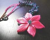 Island Flora Necklace--Fuschia/Turquoise