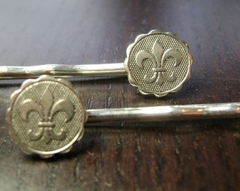 Rebirth Mini Medallion Fleur de Lis Hair Pins -- Silver