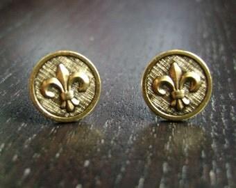 Gold Petite Fleur Earrings -- Antiqued Finish