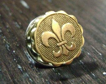 Rebirth Mini Medallion Fleur de Lis Tie Tack/Lapel Pin -- Gold
