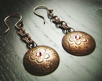 CLEARANCE !!! Dangling Flowers Copper Disc Earrings