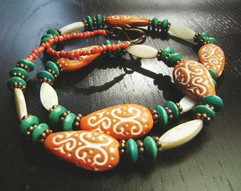 CLEARANCE !!!  Mehndi Necklace in Orange and Teal