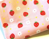 Yummy Juicy Strawberry Japanese Cotton Fabric 1Fat Quarter