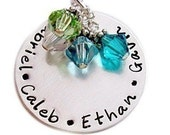Hand Stamped Necklace - Family Keepsake Jewelry with Birthstones