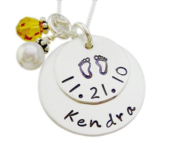 Mommy Necklace - Hand Stamped Jewelry - Baby Footprints Birthday Necklace