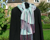 Reserved for Julie Mann - Hand Woven Silk Scarf - Frost Crystal Design
