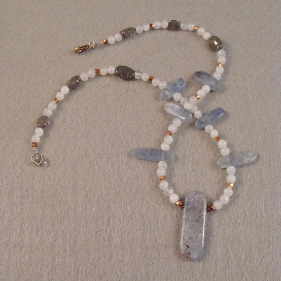 Kyanite and Labradorite in moonstone with copper