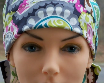 The MINI with FABRIC TIES Scrub Hat Chemo Cap-Boho