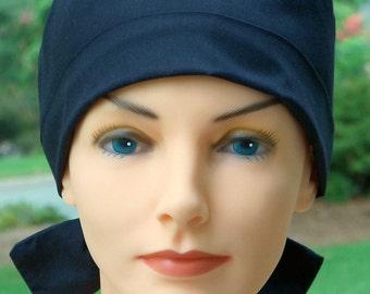Solid Black Scrub Hat // The Hat Cottage // The Mini // Fabric Ties // Black