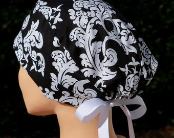 Womens Surgical Scrub Hat- The Mini with Ribbon Ties- Black and White Damask