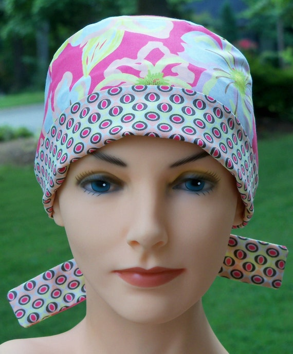 Surgical Scrub Hat- Chemo Cap- Perfect Fit Tie Back- Lemonade