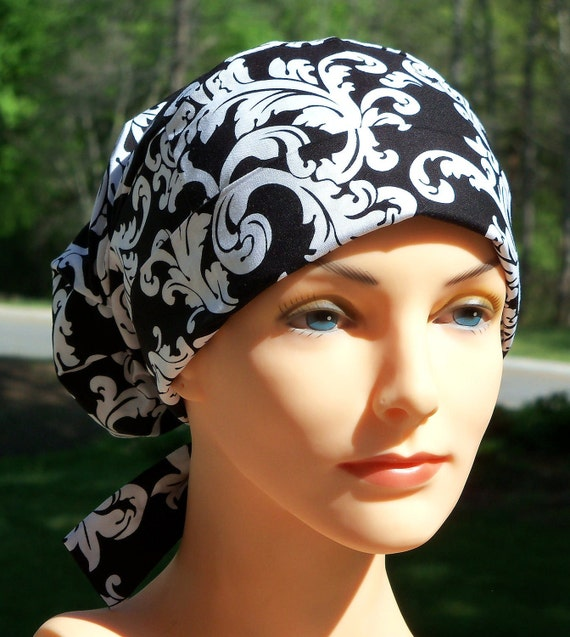 Tie Back Surgical Cap or Cancer Hat- Black and White Damask