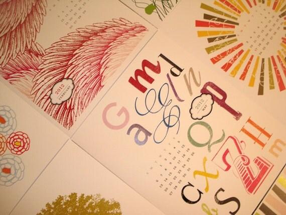 SALE Calendar - 2012 Modern Design Calendar 8.5x11 Size Printable PDF