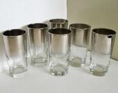 6 Mid Century Silver Rim Ombre Highball Glasses