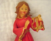 Vintage Wingless Angel with Harp Tree Topper