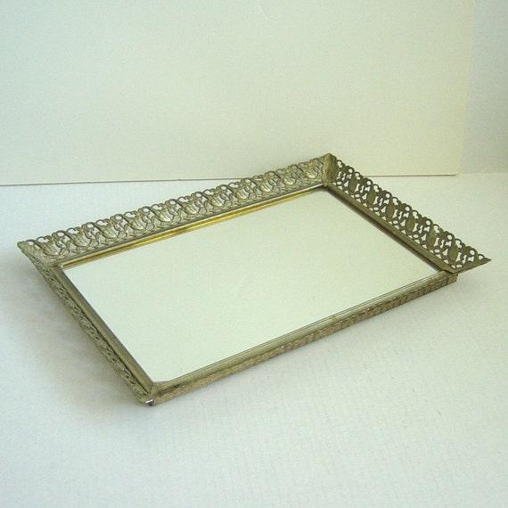 Vintage Vanity Mirror Tray Rectangular Scrolled Floral Metal Frame