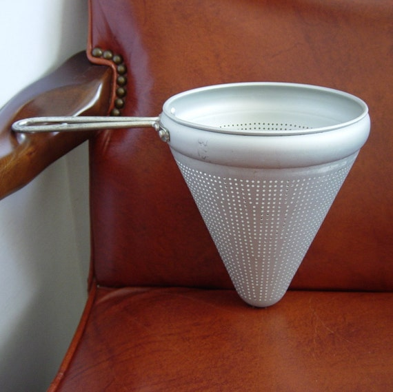Vintage Aluminum Cone Shaped Strainer Sieve Conical