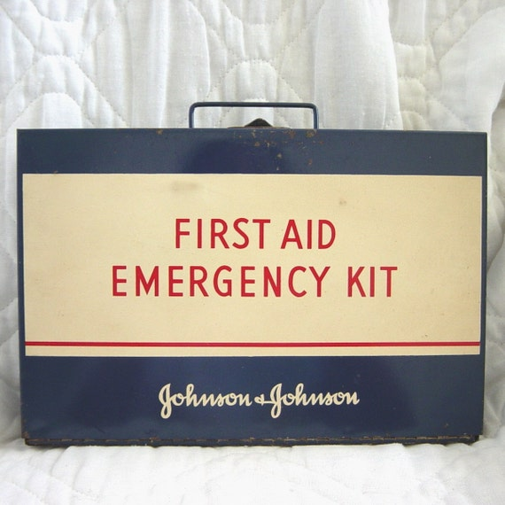 Vintage First Aid Emergency Kit Metal Box Johnson and Johnson Blue White and Red