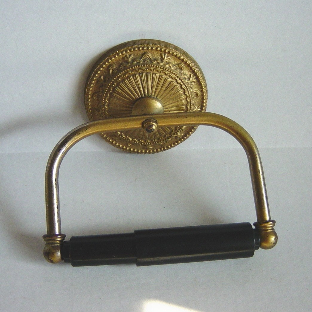 Vintage Toilet Paper Holder Antique Gold Tone Metal