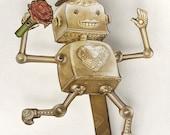 Lover Dancing Paper Puppet Robot Doll