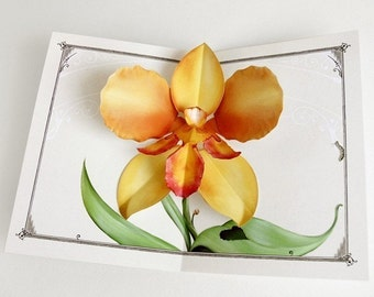 Orchid Flower Card - Pop Up Orange Tiger Flower gift for mom, aunt, grandmother, birthday as paper craft gift or sympathy, thinking of you