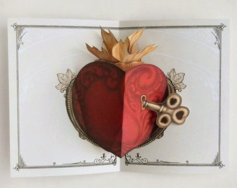 Heart Pop Up Card with Removable Key. Unique lovely gift for anniversary, birthday, spouse, men, husbands. Thinking of you too.