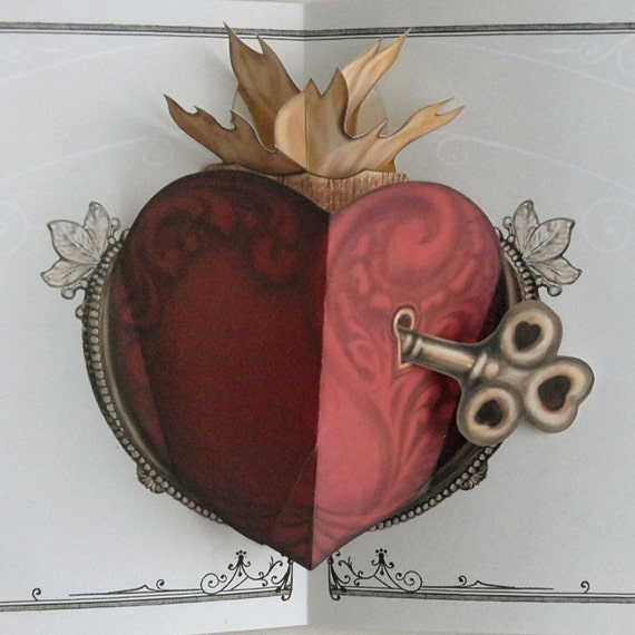 Key to Ones Heart Pop Up Card