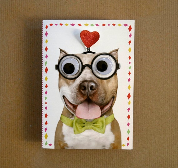 Nerdy Dog Greeting Card - Make anyone smile with those big puppy eyes!