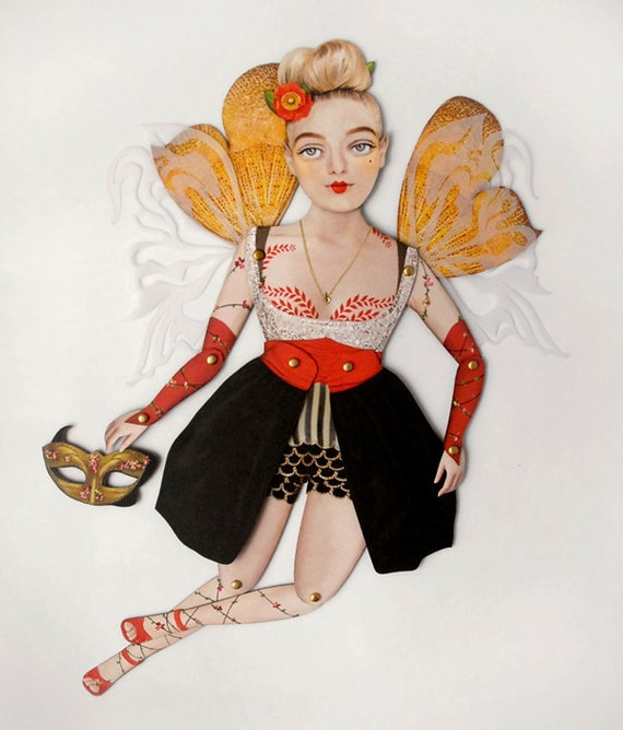 Fairy Paper Doll - Art Doll Fairies! Jubilee, A Trendy Modern Fay, Paper Puppet. Fantasy, Magical, Forest, Folklore. Gift. Blonde