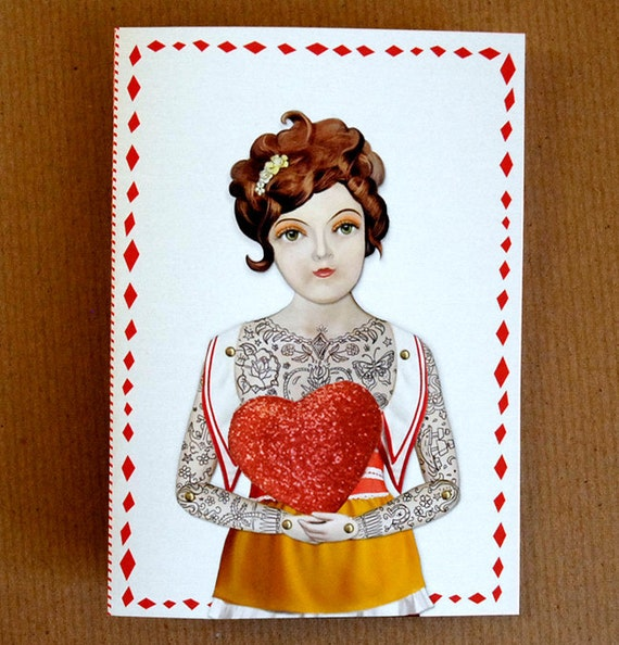 Tattooed Lady Heart Greeting Card