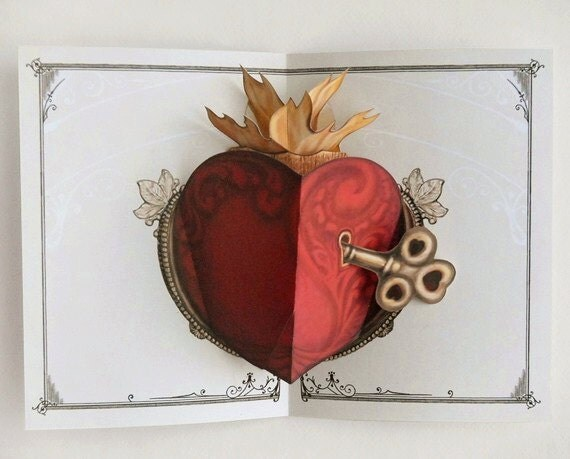 Heart Pop Up Card with key. A gift for anniversary and birthdays for special loved ones too. Memorable keepsake.