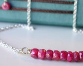 Valentine's Sale. Ruby Row Necklace. GIFTS FOR HER. Jewelry.