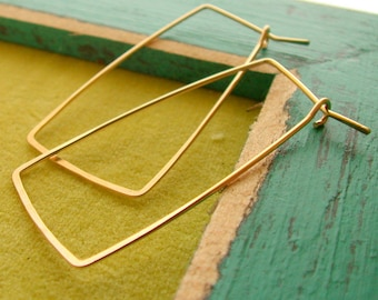 14k goldfill rectangle hoops GIFTS FOR HER. Jewelry.