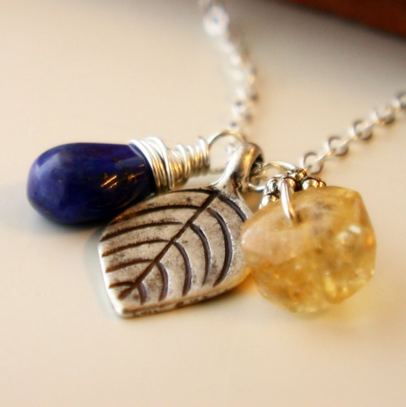 Black Friday Sale. SALE. Fallen Leaf Trio Necklace